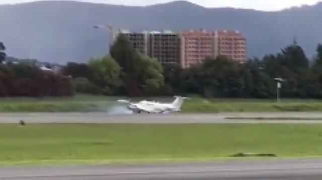 Amerikan Federal Narkotik Dairesi'ne ait uçak Kolombiya'ya sert iniş yaptı