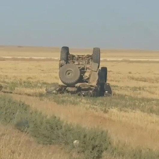 Suriyede ABD ordusuna ait askeri araç devrildi