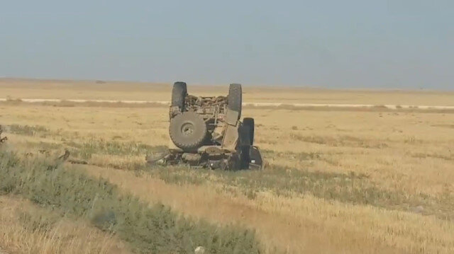 Suriye'de ABD ordusuna ait askeri araç devrildi