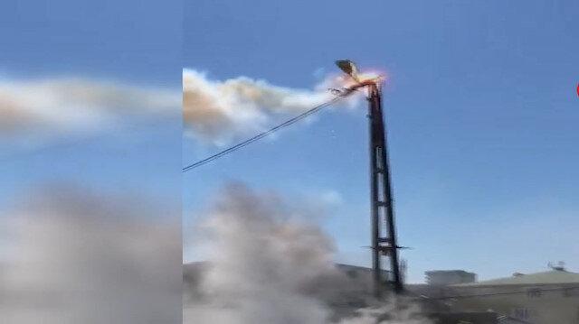 Sultanbeyli'de elektrik direği havai fişek gibi patladı
