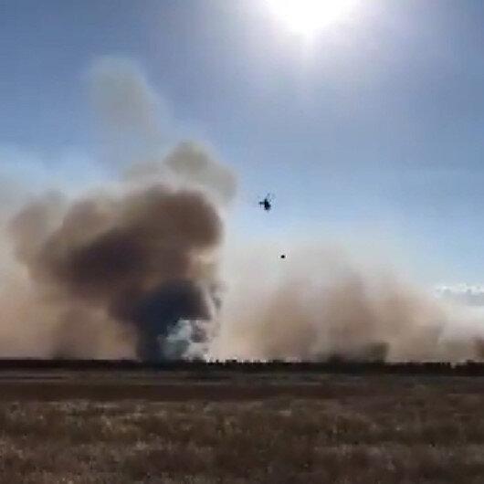 Edirnenin Meriç ilçesindeki ormanlık alanda yangın çıktı