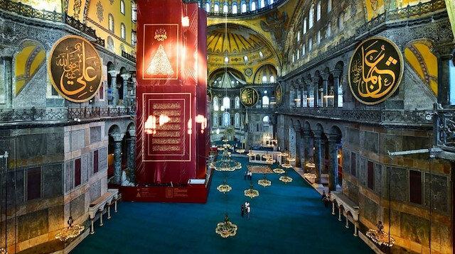 İstanbul Valisi paylaştı: Açılışa saatler kala Ayasofya Camii'nin içinden son fotoğraf