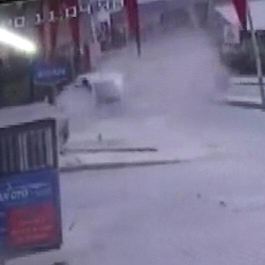 Arnavutköyde iş yerinde patlama anı kamerada