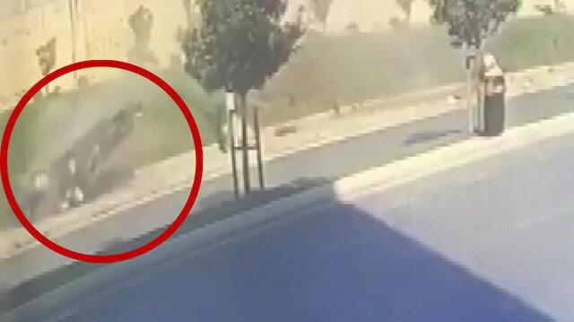 Kontrolünü kaybeden sürücü takla atan araçtan dışarıya fırladı
