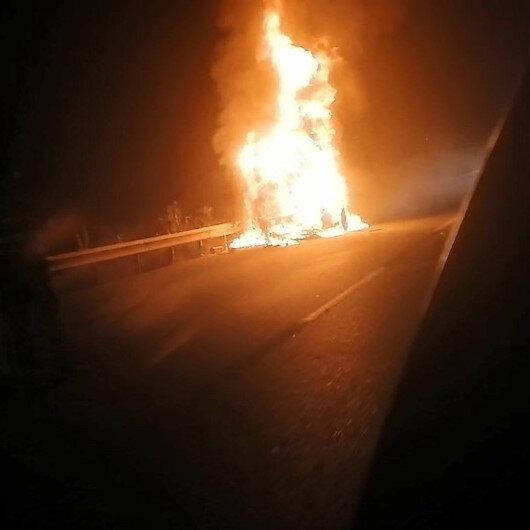 Bursada tanker alev alev yandı