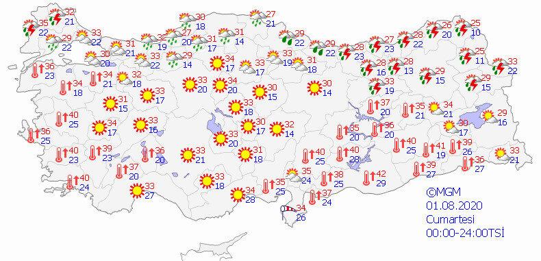 Meteorolojinin bugün için hava durumu tahmin haritası.