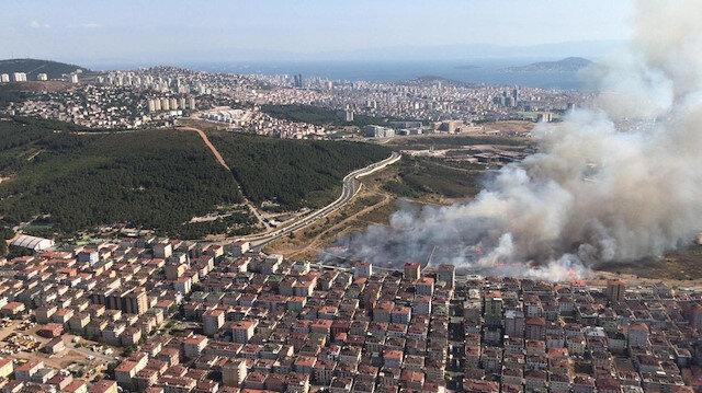Maltepe'deki askeri arazide çıkan yangında 8 asker etkilendi