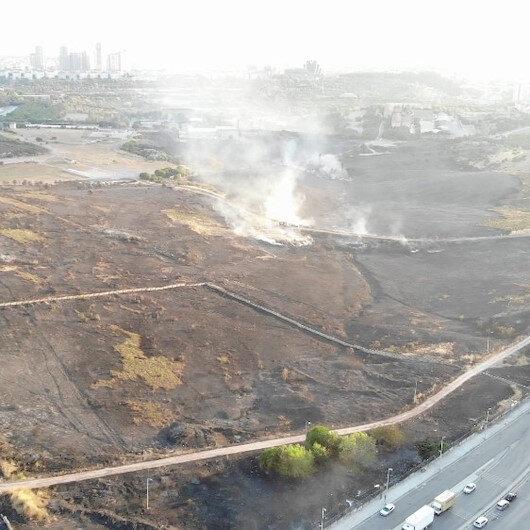 Maltepede yanan askeri alanın son hali havadan görüntülendi