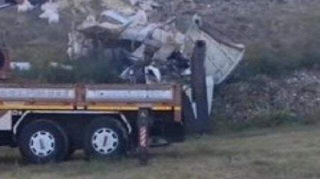Erzurum'da uçurumdan yuvarlandı: Kamyon parçalara ayrıldı
