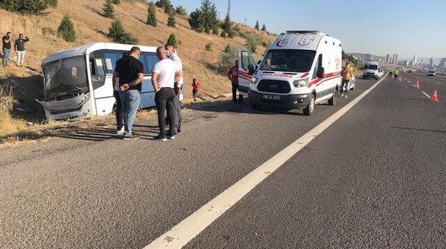 Aselsan personelini taşıyan minibüse yolcu otobüsü çarptı: 1 ölü, 8 yaralı var