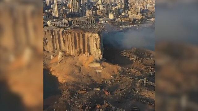 Büyük patlamanın ardından Beyrut havadan görüntülendi