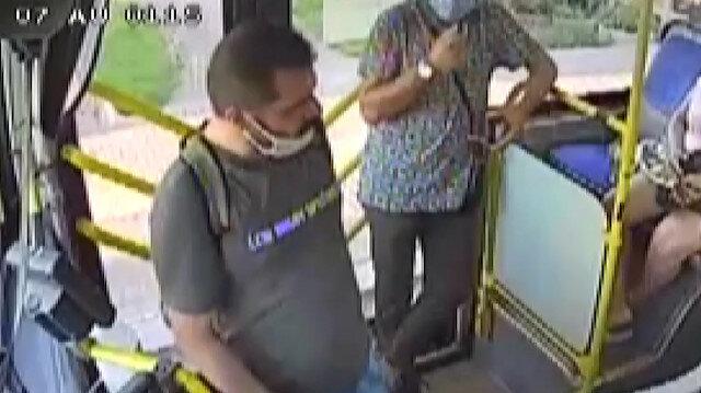 Otobüs şoförü ile yolcu arasındaki ''maske'' tartışması güvenlik kamerasında