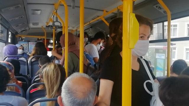 Kocaeli'de DGS sınavı öncesi halk otobüsünde nefes alacak yer kalmadı