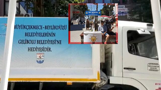 CHP'li belediye AK Parti standının önüne çöp kamyonu çekti