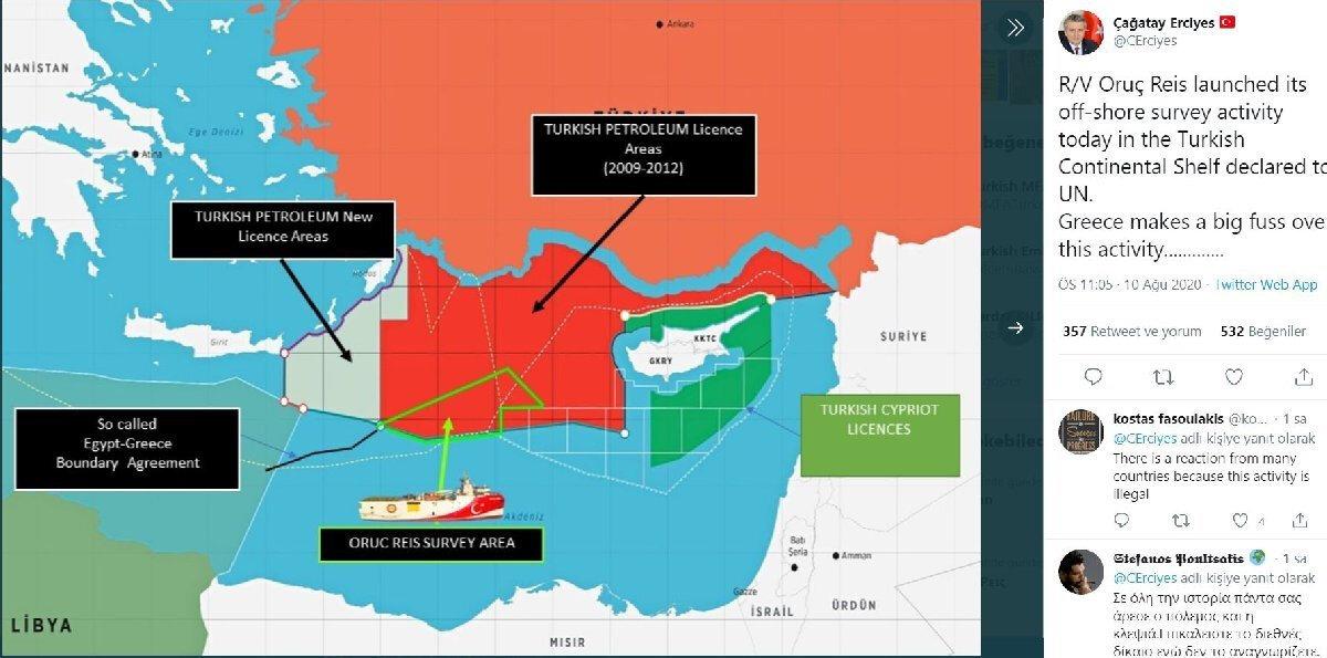 Yayınlanan haritada; kırmızı alan 2009-2012 yılları arasında izin alınan bölgeyken gri alan arama çalışmalarına başlanan yeni bölge. Şeffaf alan ise, Mısır-Yunanistan arasındaki sözde MEB'in ilan edildiği bölge.