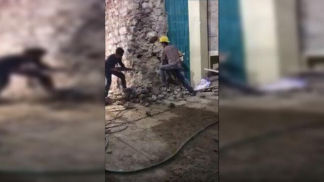 Galata Kulesi'nde sonradan yapılan duvarın hiltili yıkımına bakanlık müdahale etti