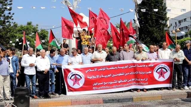 Gazze'de İsrail-BAE normalleşme anlaşması protesto edildi: Normalleşme ihanettir