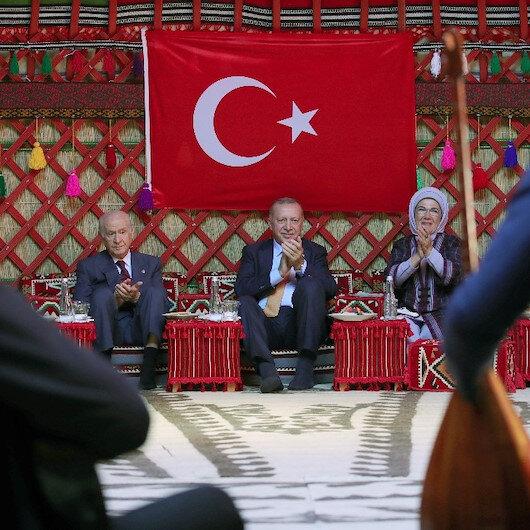 Cumhurbaşkanı Erdoğan ve Devlet Bahçeli, Han Çadırı'nda buluştu