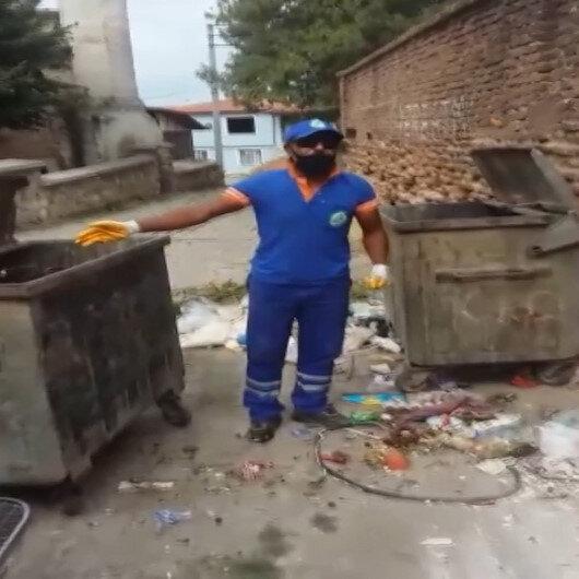 Edirnede bir temizlik işçisi çöpleri atanlara tepki göstermek için söylediği şarkıyla sosyal medyada gündem oldu
