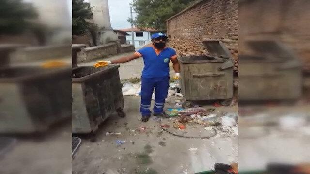 Edirne'de bir temizlik işçisi çöpleri atanlara tepki göstermek için söylediği şarkıyla sosyal medyada gündem oldu