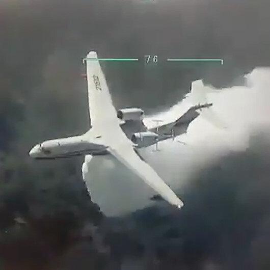 Adanadaki yangına müdahale eden Ateş Kuşları İHA ile görüntülendi