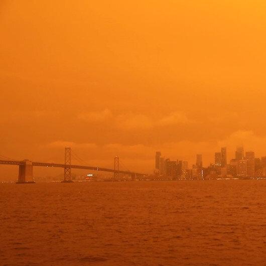 ABDdeki yangınlar gökyüzünü turuncuya bürüdü