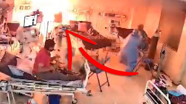 Hindistan'da pandemi hastanesinde ventilatör patladı: O anlar kameraya yansıdı