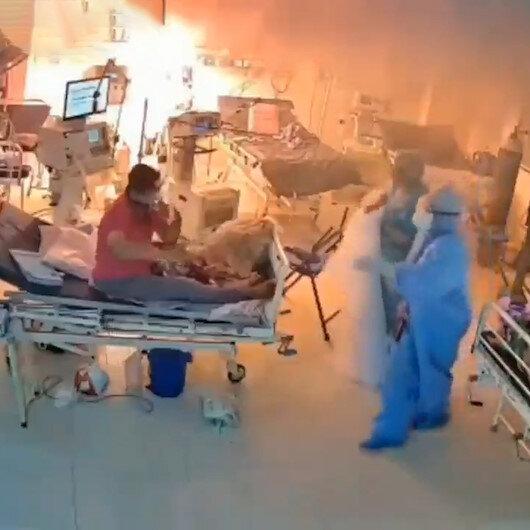 Koronavirüs hastalarının olduğu odada ventilatör makinesi patladı: Yaşanan can pazarı güvenlik kamerasında