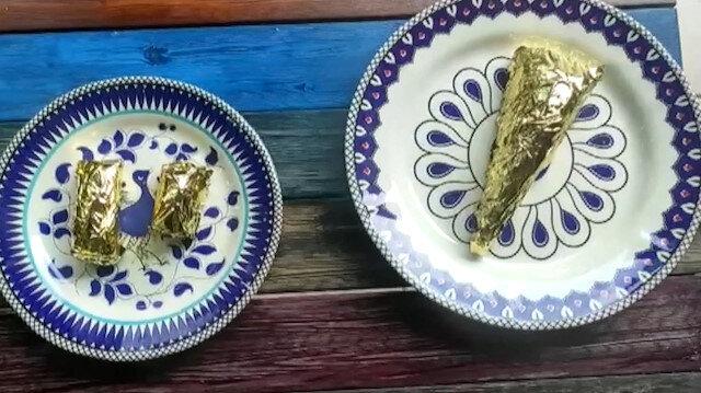 24 ayar altın kaplamalı baklava yaptı: Dilimi 550 lira