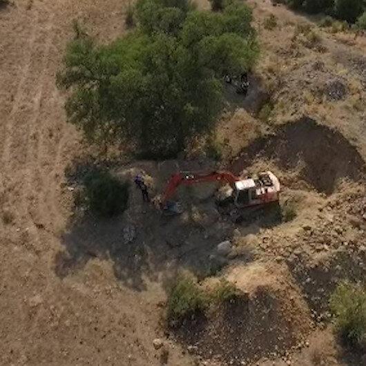 Manisada kaçak kazı yapan şahıslar drone kamerasıyla böyle görüntülendi