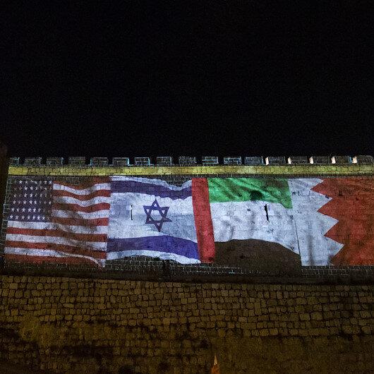 Kudüs surlarına ABD, İsrail, BAE ve Bahreyn bayrakları yansıtıldı