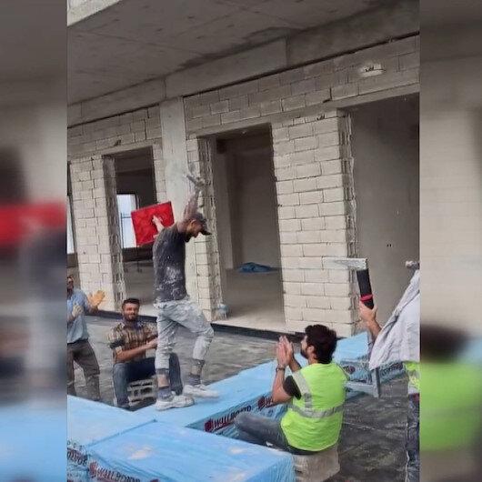 Trabzonda inşaat işçilerinden mankenlere taş çıkartacak defile