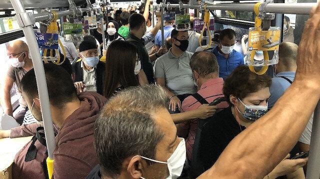 İstanbul'daki toplu taşıma araçlarından akılalmaz görüntüler: Tıka basa yolculuk