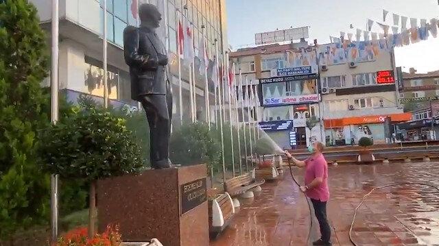 Maltepe Belediye Başkanı Kılıç'tan 'Atatürk büstü yıkamalı' hizmet videosu