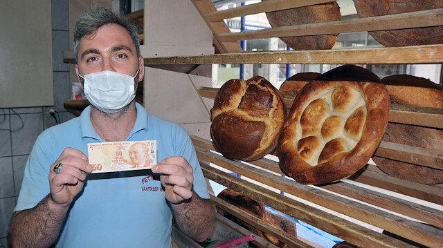 Trabzonlu fırıncı hatalı basılan banknota 80 bin lira istiyor