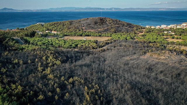 Ayvalık'taki yangının etkilediği alan havadan görüntülendi