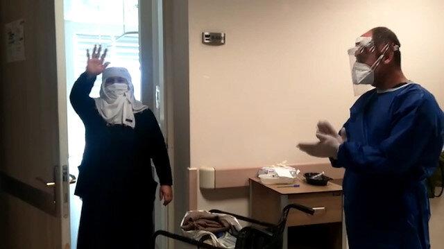 Taburcu olan yaşlı kadın sağlık çalışanlarına böyle teşekkür etti