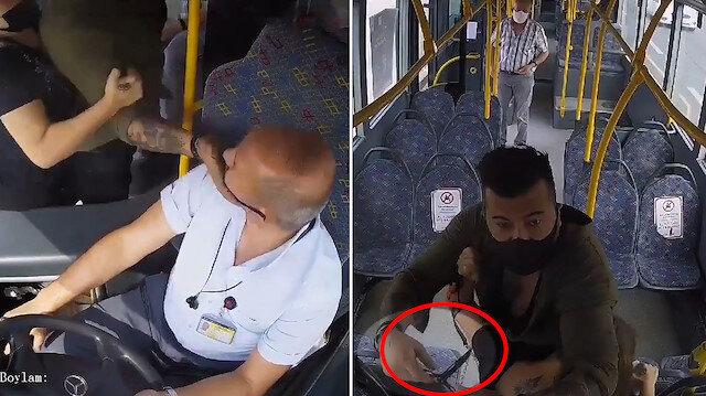 Maske takmayan yolcu, şoförü önce tokatladı ardından bıçak çekti: Çıkan arbedede bıçakla yaralandı