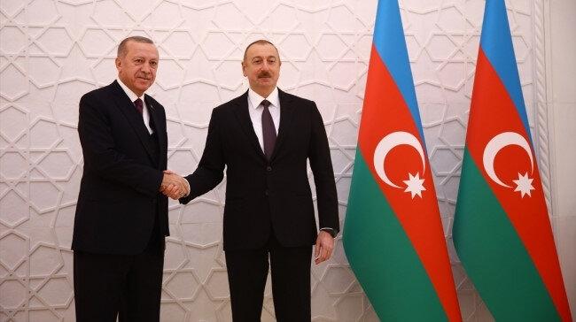 Cumhurbaşkanı Recep Tayyip Erdoğan ve Azerbaycan Cumhurbaşkanı İlham Aliyev.