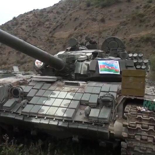 Azerbaycan Ordusu, Ermenistanın bırakıp kaçtığı tankların görüntülerini paylaştı
