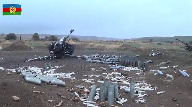 Ermenistan askerinin cephede bırakıp kaçtığı mühimmat ve zırhlı araçlar görüntülendi