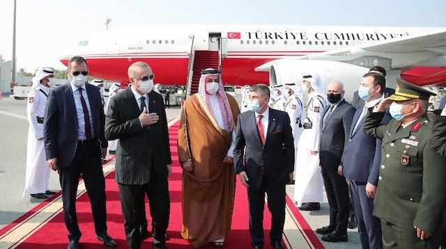 Katar'daki Türk Silahlı Kuvvetleri Komutanları, Cumhurbaşkanı Erdoğan'ı karşıladı