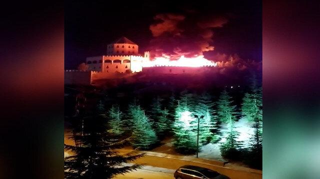 Ankara'daki Estergon Kalesi'nde yangın çıktı