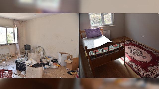'Çöp ev' temizlenince bambaşka bir yere büründü