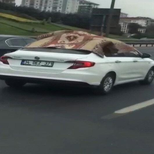 Dolu korkusu TEM Otoyoluunda ilginç görüntüler oluşturdu: Battaniyeli otomobil kamerada