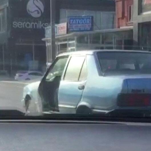 Bursada kapısız şekilde trafikte seyreden araç sürücüleri şaşkına çevirdi