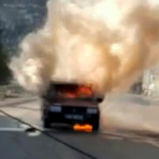 Hatayda LPGli otomobil alev alev yandı