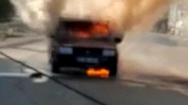 Hatay'da LPG'li otomobil alev alev yandı