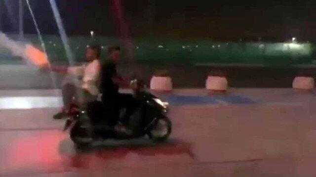 Yenikapı'da havai fişekli motosikletli magandalar kamerada