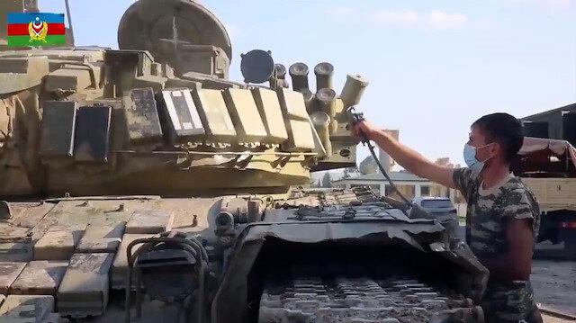 Ganimetler kullanılmaya başlandı: Ermenistan'ın bırakıp kaçtığı tanklar boyanarak kullanıma hazır hale getirildi